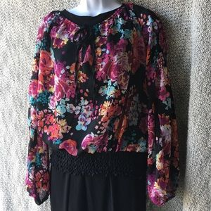 Arden B Colorful Floral Polyester Top Size Large
